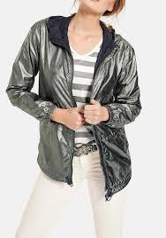 jacket with hood reed green metallic