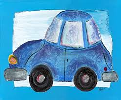 Amazon Com The Kids Room By Stupell Blue Car With Blue Border Rectangle Wall Plaque Baby