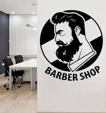 Gentleman Barber Shop Logo Wall Decal Art Man Salon Haircut Beard Face Tools Beauty Salon Wall Window Decor Sticker Y151 Wall Stickers Aliexpress