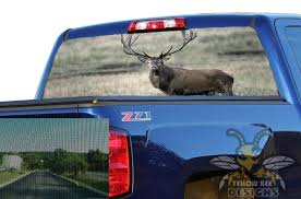 Perforated Graphics Deer Rear Window Decals For Chevy Silverado