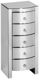 curved mirrored 6 drawer tall chest
