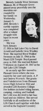 Obituary for Beverly Isabelle West Swensen Monson, 1924-2005 (Aged 80) -  Newspapers.com