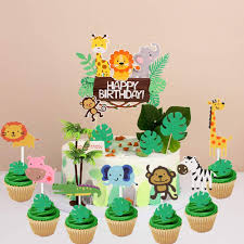 Amazon Com Laventy 28 Pcs Jungle Animals Birthday Cake Topper Jungle Safari Cupcake Topper Jungle Theme Birthday Cake Sign Zoo Party Cake Decor Baby Animal Topper Toys Games