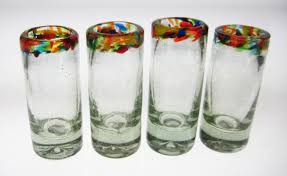 shot glasses confetti rim set of 4