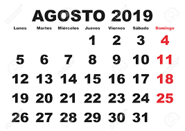 August Month In A Year 2019 Wall Calendar In Spanish. Agosto ...