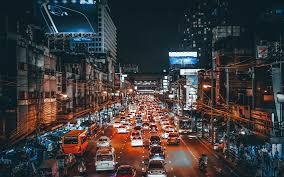cars lights night street art style