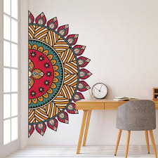 Mandala In Half Wall Sticker Colorful Mandala Wall Decal Etsy