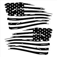 Amazon Com American Flag Distressed Vinyl Decal Matte Black 1 Left 1 Right 0097 Garden Outdoor