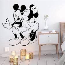 Cartoon Mickey Minnie Mouse Wall Stickers For Kids Rooms Home Decor Accessories Disney Wall Decals Vinyl Mural Art Diy Wallpaper Wall Stickers Aliexpress