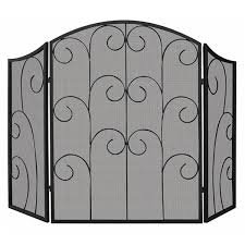 black fireplace screen with decorative