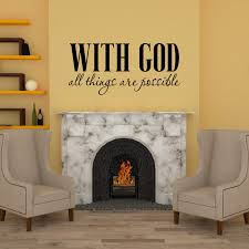 Amazon Com Basicor With God All Things Are Possible Decal Christian Wall Sticker Bible Verse Wall Art Y32 Home Kitchen