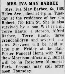 Obituary-Iva May Barbee - Newspapers.com