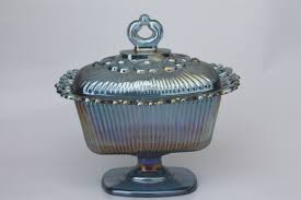 blue carnival glass candy dish vintage