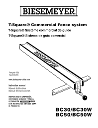 Bc30 Bc50 Biesemeyer Fence System Owner S Manual Manualzz