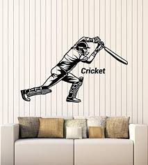 Large Vinyl Wall Decal Cricket Bat Game Player Sports Room Decor Stickers Mural G2990 Black Wallstickers4ever In 2020 Sports Room Decor Vinyl Wall Decals Wall Decals
