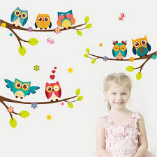 Cartoon Owl Branch Wall Sticker Mural Wall Decal Art Adhesive For Kids Rooms Decoration Adesivo De Parede Poster Kids Wall Stickers Removable Kitchen Wall Decals From Kity12 3 02 Dhgate Com