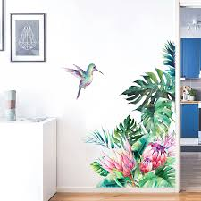 Tropical Leaves Flowers Bird Wall Stickers Bedroom Living Room Decoration Mural Home Decor Decals Removable Stickers Wallpaper Wall Stickers Aliexpress