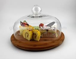 whole glass bell cloche with wooden