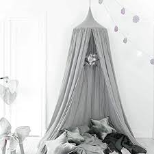 Amazon Com Onmier Kids Bed Canopy With Pom Pom Hanging Mosquito Net For Baby Crib Nook Castle Game Tent Nursery Play Room Christmas Decor Grey Home Kitchen