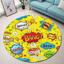 Superhero War Kids Play Area Rugs Round Decor Soft Carpet Room Floor Yoga Mat Ebay