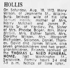 Mary Polly Wilson Hollis Obituary. The Pittsburgh Press. Aug 19 ...