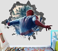 Spider Man Movie Marvel Smashed 3d Wall Decal Sticker Vinyl Decor Door Window Poster Mural Broken Wall 3d Designs Op08 Medium Wide 30 X 28 Height Wantitall