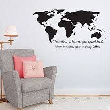 Amazon Com Wall Sticker Mural Decal Quote Traveling It Leaves You Speechless World Map Home Decor Vinyl Art Stickers Wall Decals Home Kitchen
