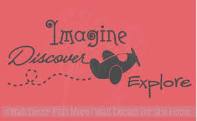 Sale Imagine Discover Explore Boys Wall Decal Sticker Saying With Floating Airplane Traffic Blue