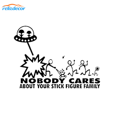 New Arrivals Stick Figure Family Decal Alien Attack Ufo Nobody Cares Funny Sticker Decals Car Truck Vinyl Laptop Stickers L973 Car Stickers Aliexpress