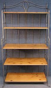 solid pine steel 5 tier bakers rack