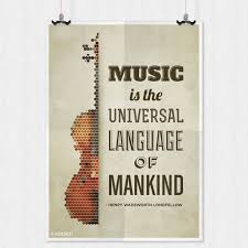 music is the universal language henry quote mini poster paper