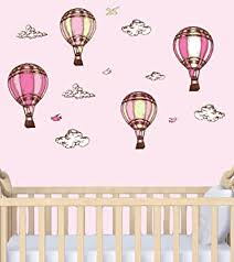 Amazon Com Baby Girl Wall Decals Hot Air Balloons For Nursery Pink Balloons Baby
