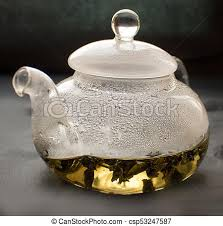 clear glass teapot with tea