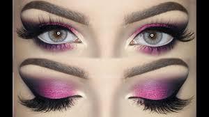 pink violet and black smokey eye