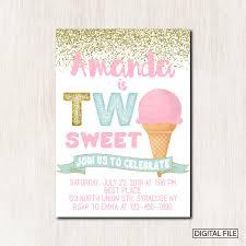 Two Sweet Ice Cream Birthday Invitation Two Sweet Invitation Ice