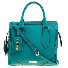 burberry turquoise leather padlock tote