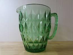 optic depression glass water pitcher