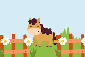 Premium Vector Horse Behind Fence With Flowers Grass Farm Animal Cartoon Illustration