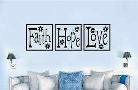 Faith Hope Love Block Paneling Religious Christian Decor Vinyl Decal Wall Stickers Letters Words