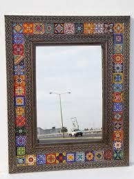 punched tin mirror mixed talavera tile