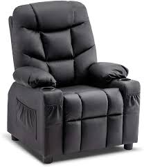 Amazon Com Mcombo Big Kids Recliner Chair With Cup Holders For Boys And Girls Room 2 Side Pockets 3 Age Group Faux Leather 7366 Black Kitchen Dining