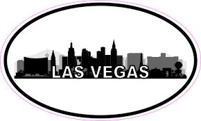 5in X 3in Oval Las Vegas Skyline Sticker Luggage Decal Car Travel Stickers Stickertalk
