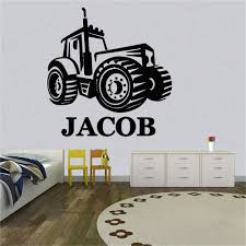 Custom Name Farm Tractor Personalised Any Name Decor Sticker Wall Sticker Kids Room Decal Home Decor Wl1145 Wall Stickers Aliexpress