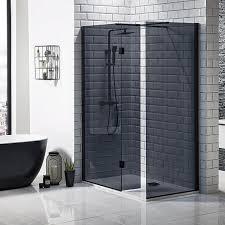 mono black framed tinted glass shower