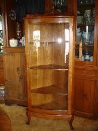 curved glass corner china curio cabinet