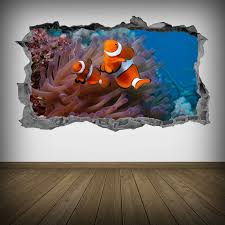 Tropical Fish Wall Art Clown Fish Decals 3d Decor Sea Life Wall Decals Stickers Mural Fish Wall Art Sea Life Wall Art Wall Decals And Stickers