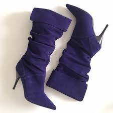 slouchy purple leather heeled pirate