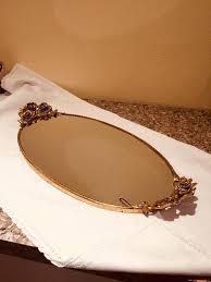 vintage vanity mirror tray rose handles