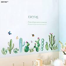 Amazon Com Bibitime Cactus Wall Decal Peel And Stick Wall Stickers Green Plants Cactuses Cacti Flower Butterfly Vinyl Quotes Sayings For Living Room Sofa Background Pvc Decorations Home Art Murals Kitchen Dining