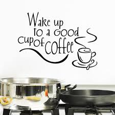 diy wake up to a good cup of coffee pvc wall stickers kitchen
